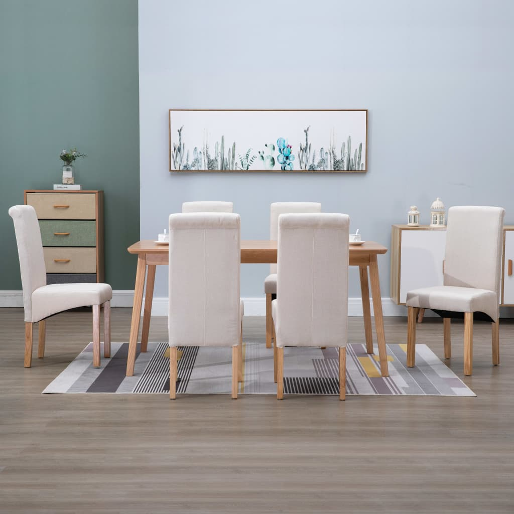 Dining Chairs 6 pcs Cream Fabric 1