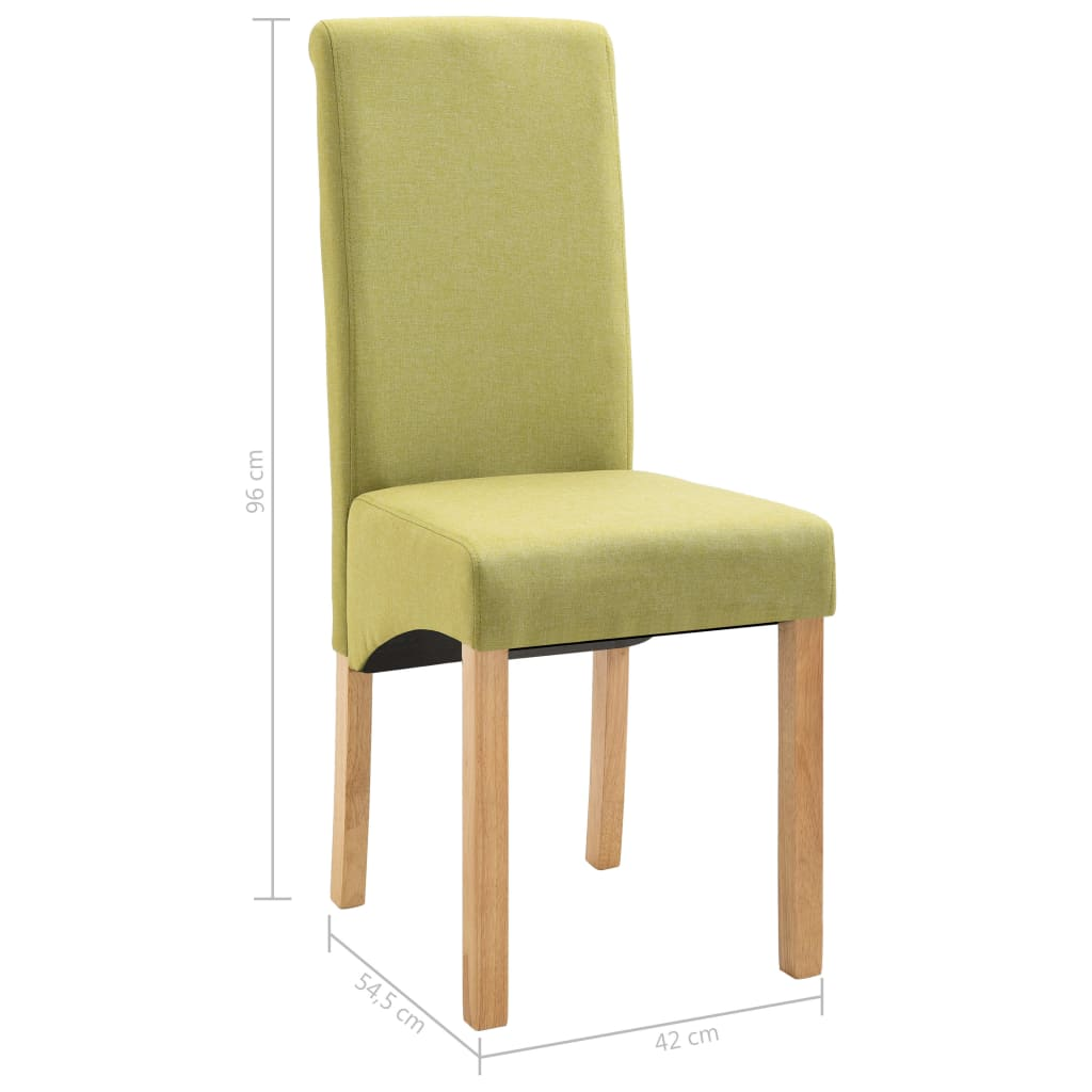 Dining Chairs 6 pcs Green Fabric 9