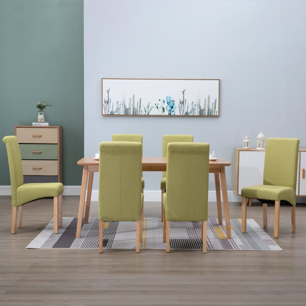 Dining Chairs 6 pcs Green Fabric 1