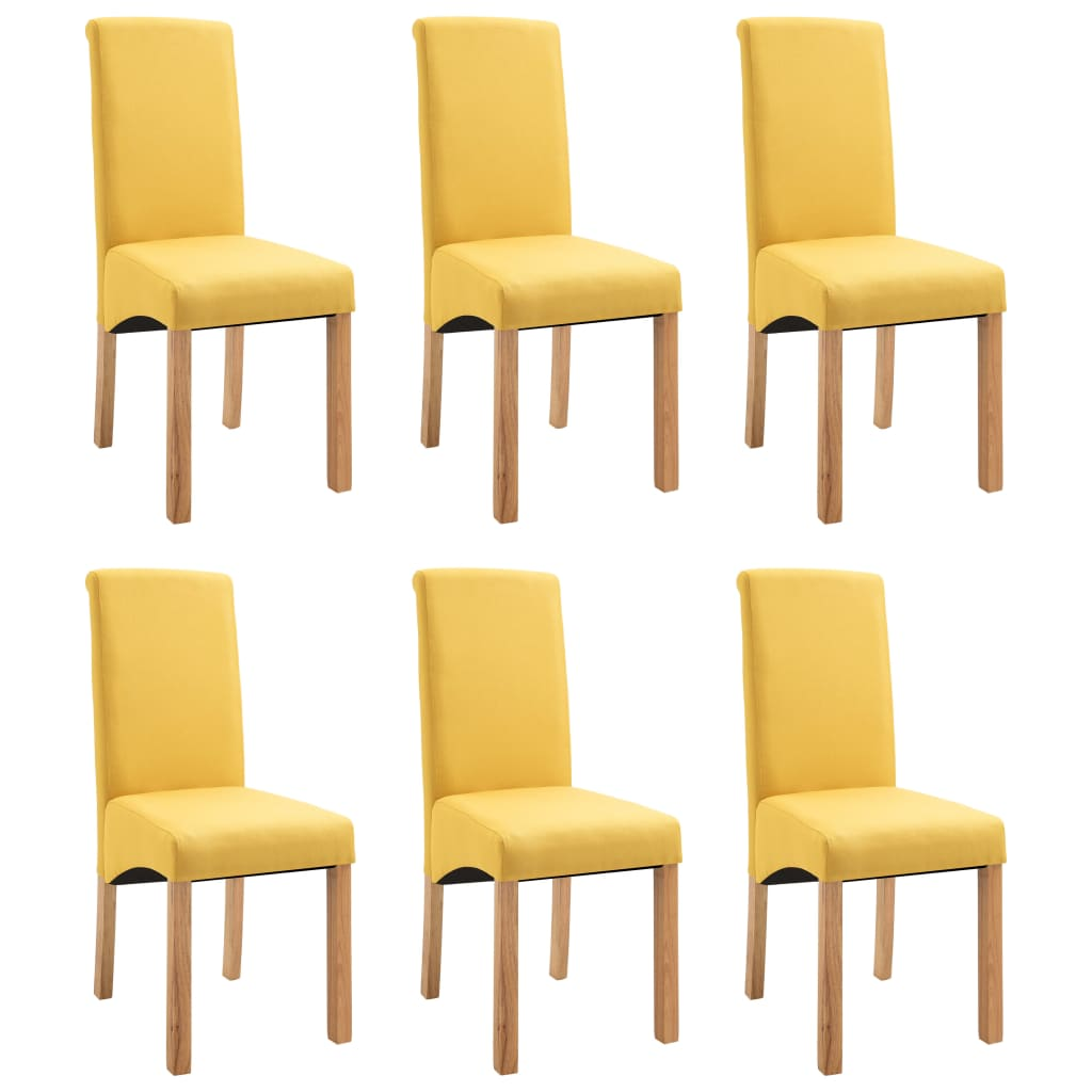 Dining Chairs 6 pcs Yellow Fabric 2