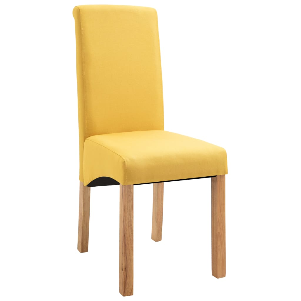 Dining Chairs 6 pcs Yellow Fabric 3