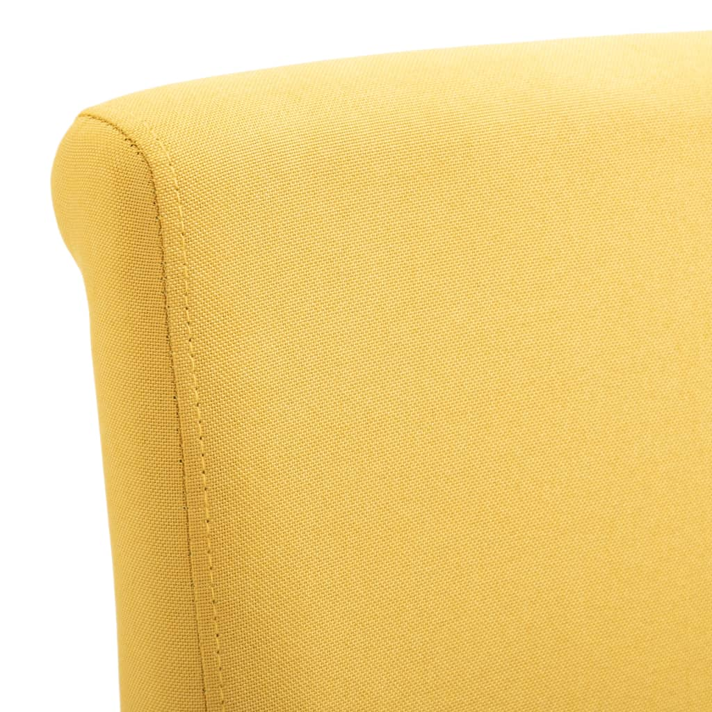 Dining Chairs 6 pcs Yellow Fabric 7