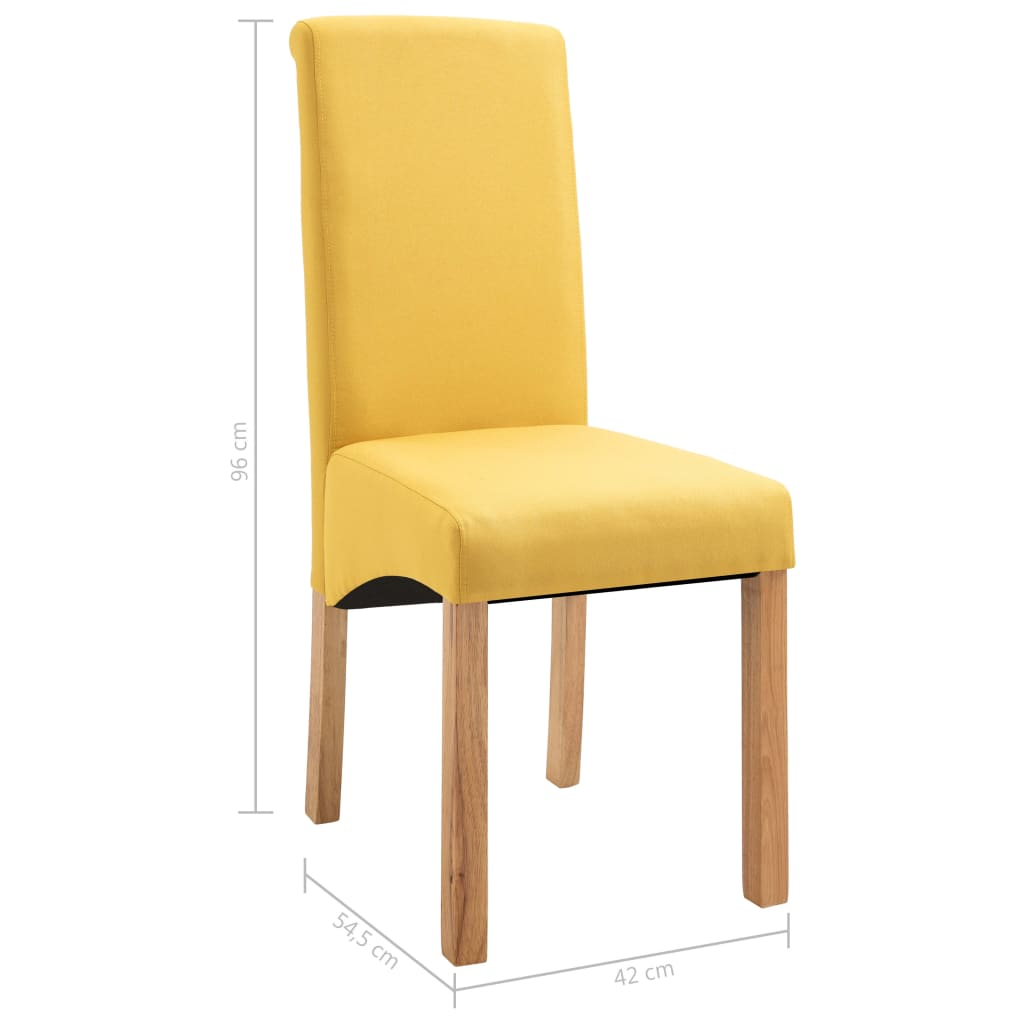 Dining Chairs 6 pcs Yellow Fabric 9