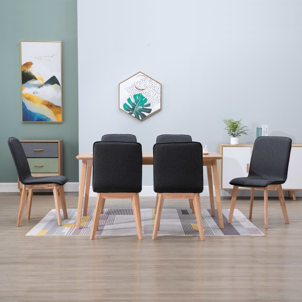 Dining Chairs 6 pcs Grey Fabric