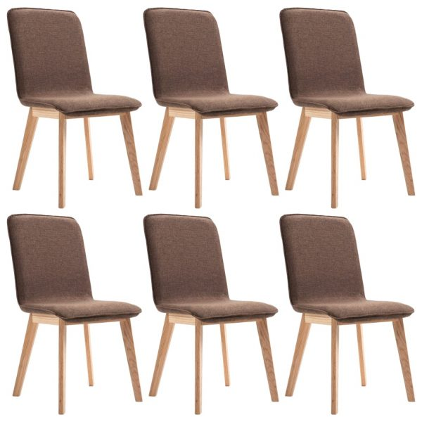 Dining Chairs 6 pcs Brown Fabric 2