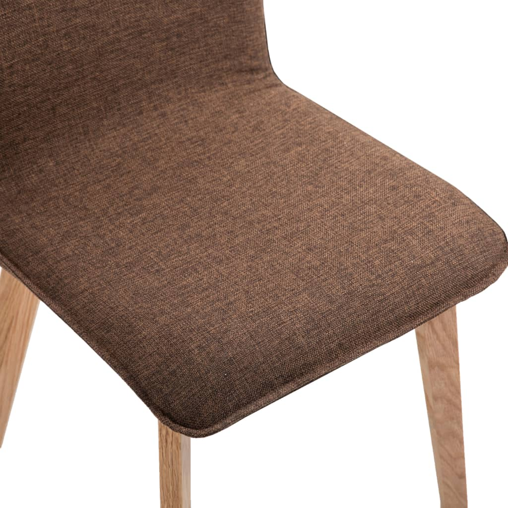 Dining Chairs 6 pcs Brown Fabric 8