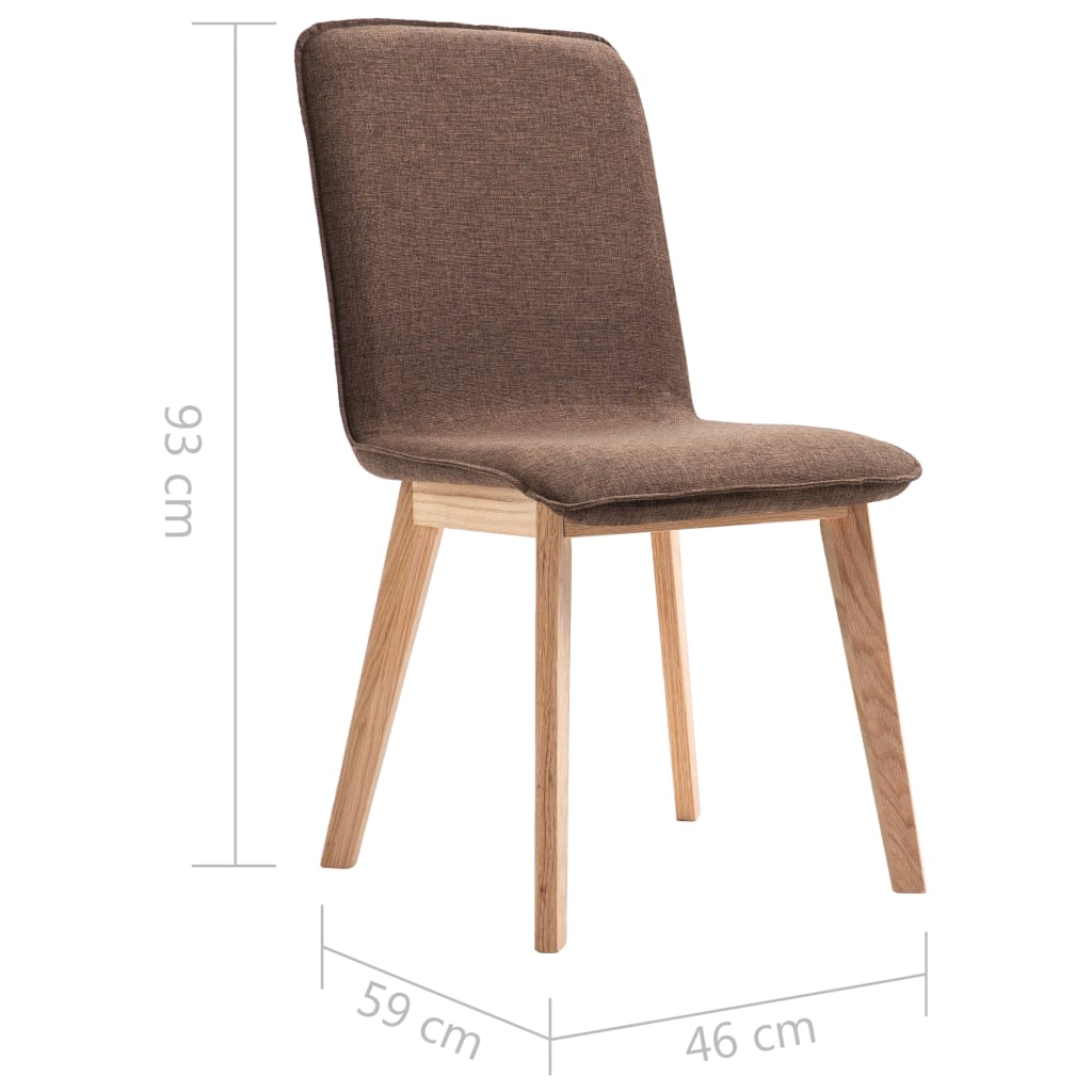 Dining Chairs 6 pcs Brown Fabric 9