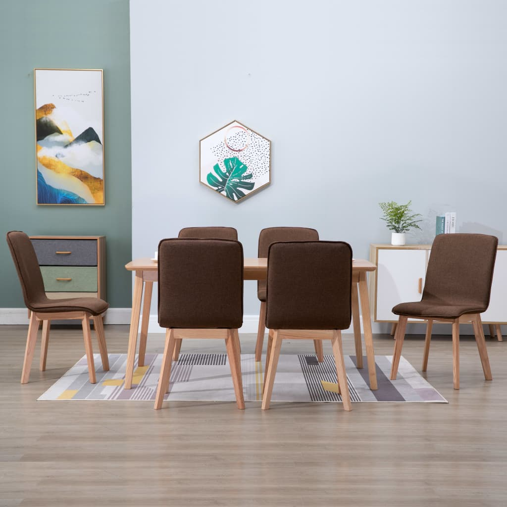Dining Chairs 6 pcs Brown Fabric