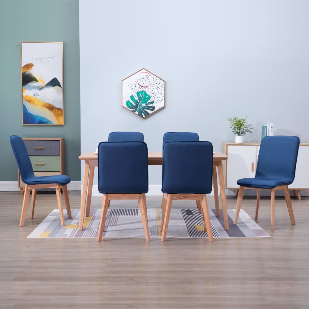 Dining Chairs 6 pcs Blue Fabric 1