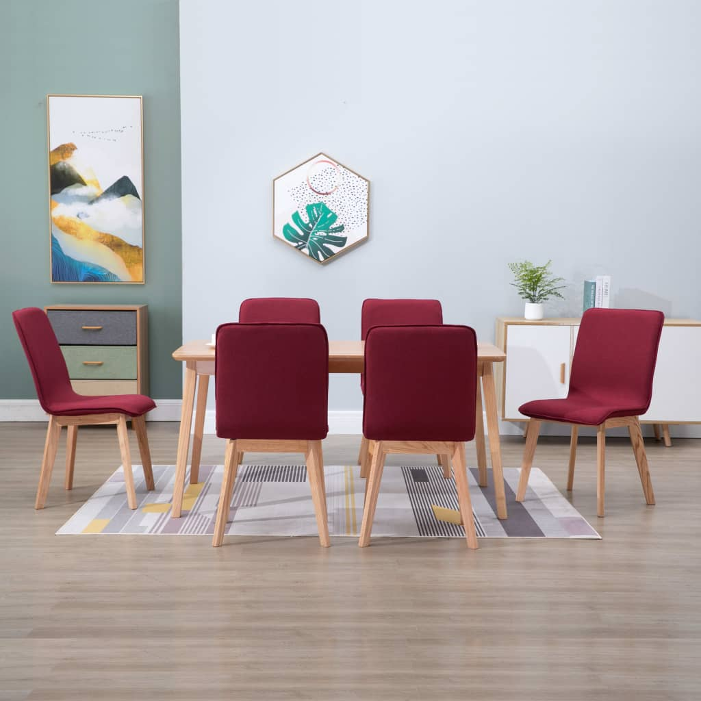 Dining Chairs 6 pcs Red Fabric