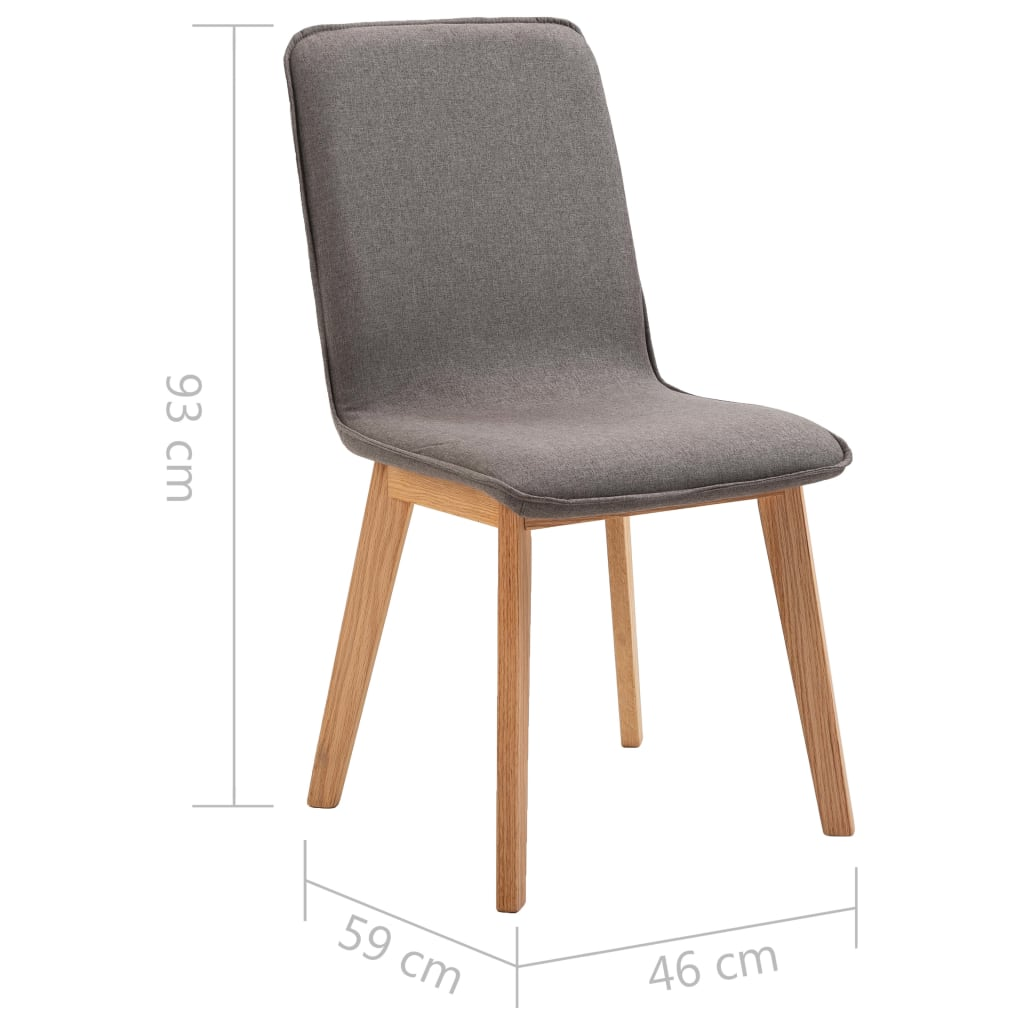 Dining Chairs 6 pcs Taupe Fabric 9