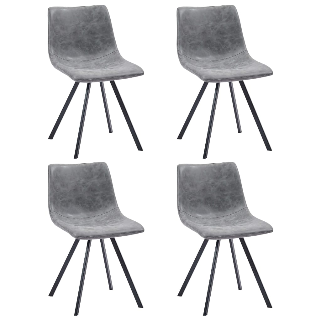 Dining Chairs 4 pcs Grey Faux Leather