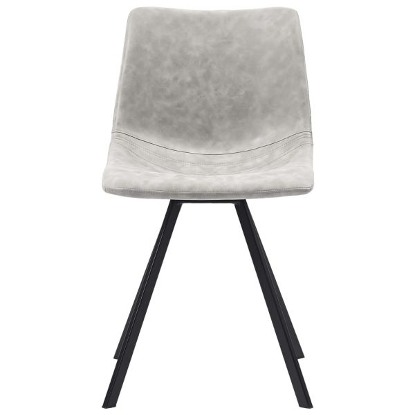 Dining Chairs 2 pcs Light Grey Faux Leather 3