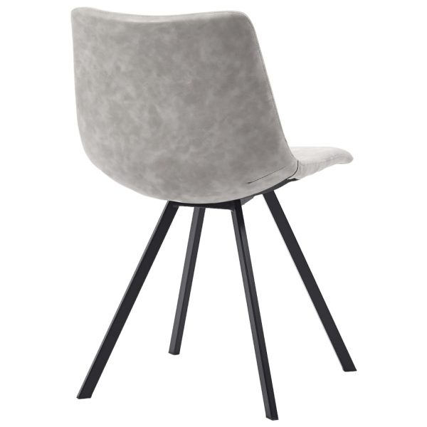 Dining Chairs 2 pcs Light Grey Faux Leather 5