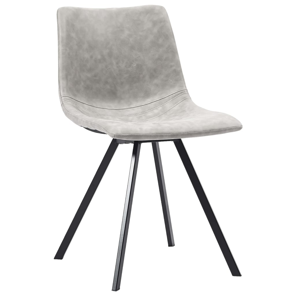 Dining Chairs 4 pcs Light Grey Faux Leather 2