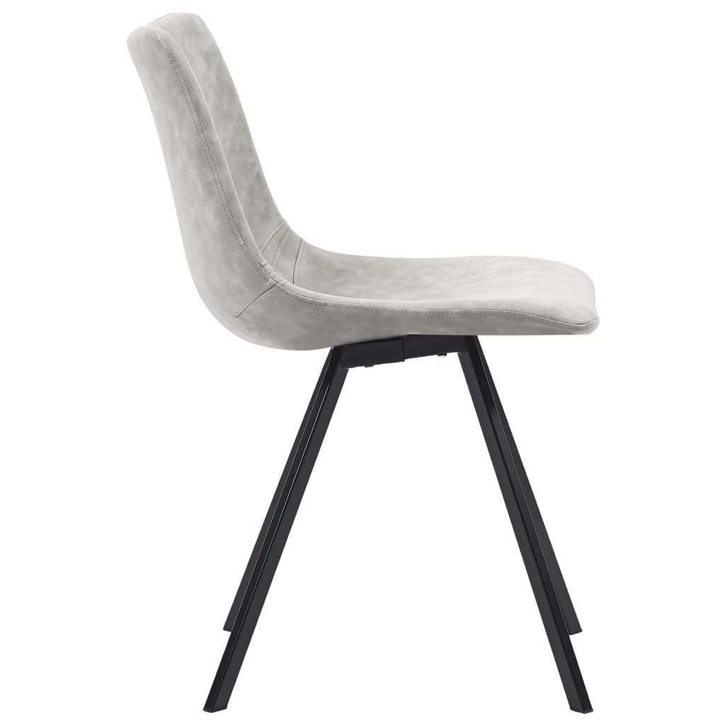 Dining Chairs 4 pcs Light Grey Faux Leather 4