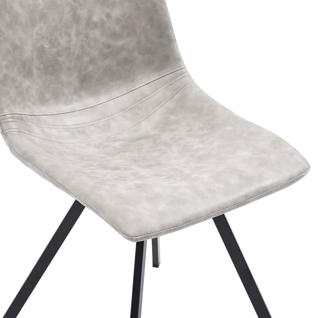 Dining Chairs 4 pcs Light Grey Faux Leather 6