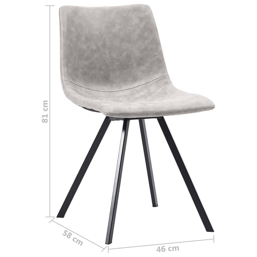 Dining Chairs 4 pcs Light Grey Faux Leather 8