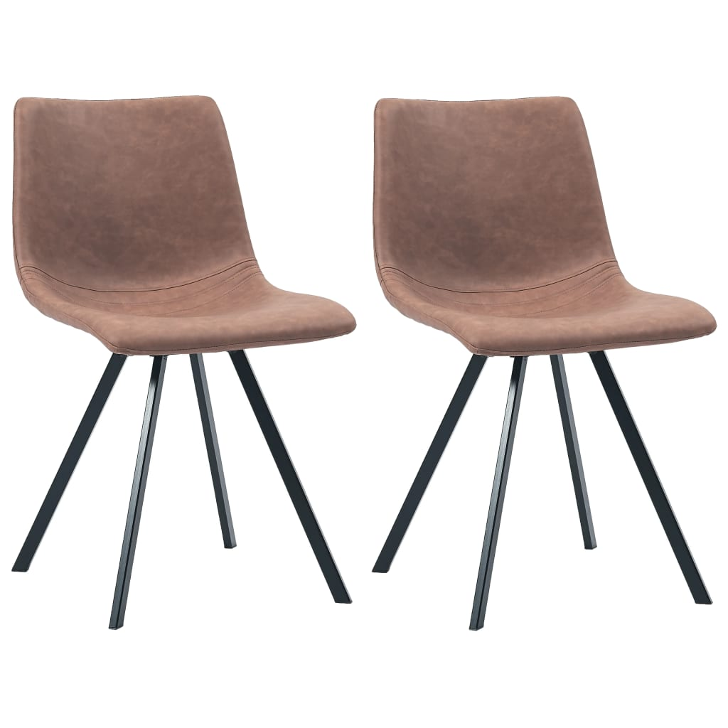 Dining Chairs 2 pcs Medium Brown Faux Leather