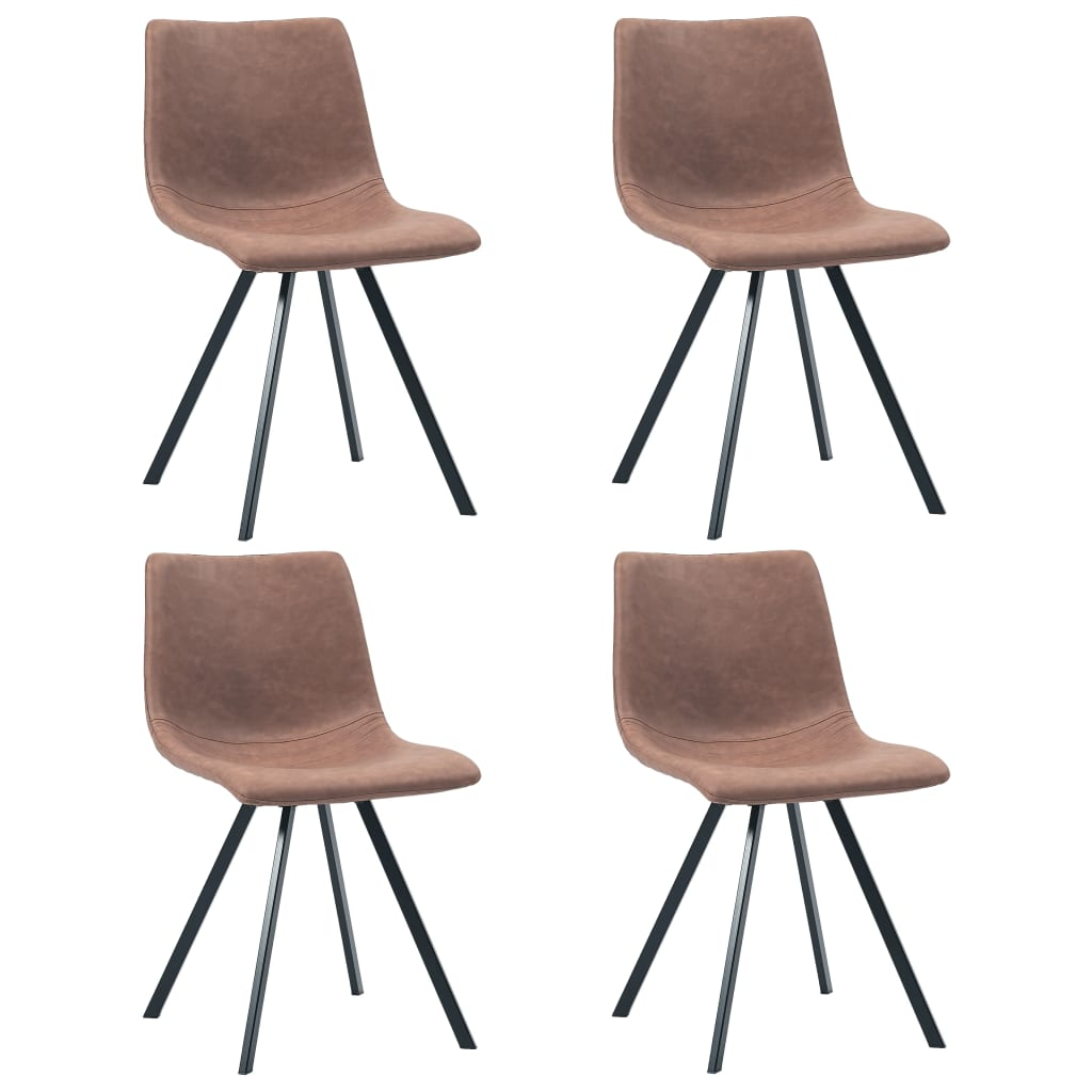 Dining Chairs 4 pcs Medium Brown Faux Leather 1