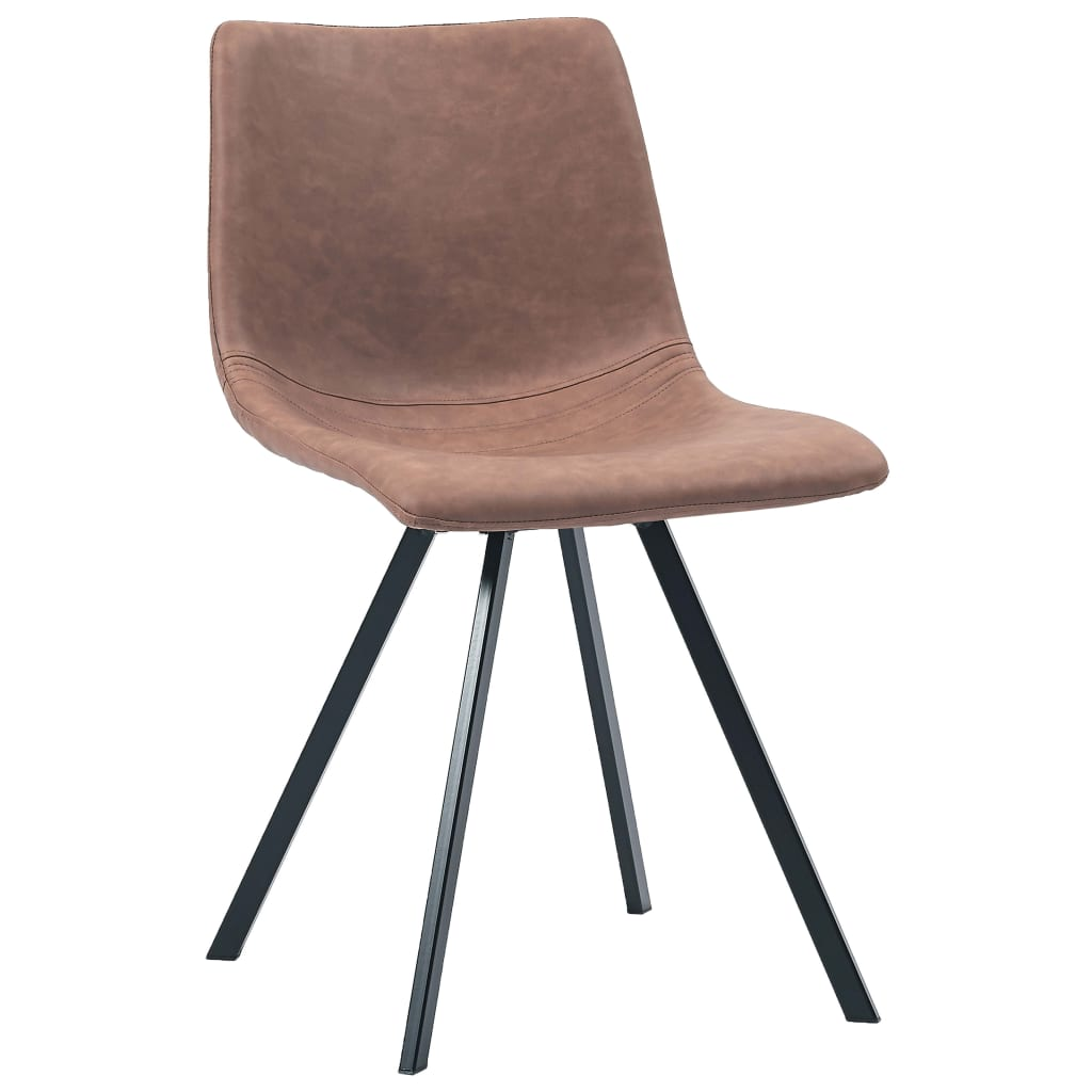 Dining Chairs 4 pcs Medium Brown Faux Leather 3