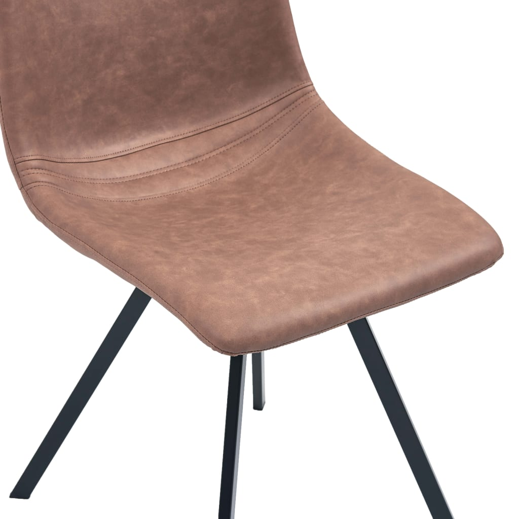 Dining Chairs 4 pcs Medium Brown Faux Leather 7