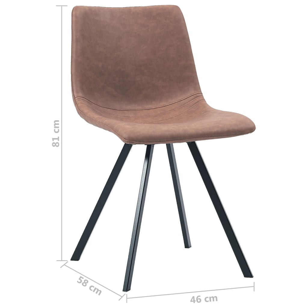 Dining Chairs 4 pcs Medium Brown Faux Leather 8