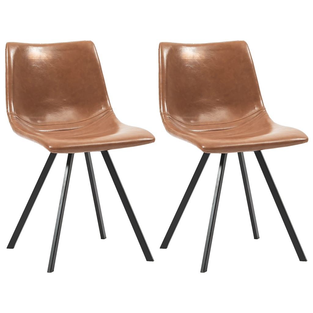 Dining Chairs 2 pcs Cognac Faux Leather
