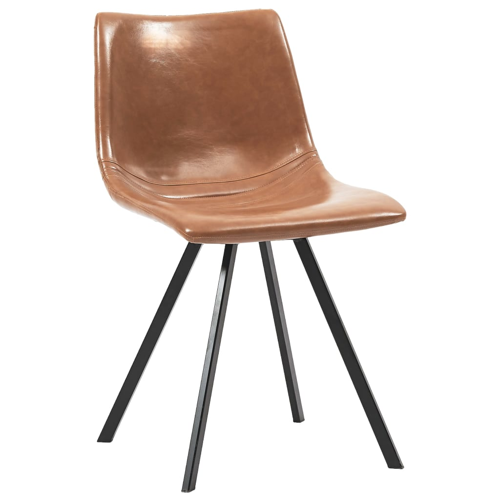 Dining Chairs 2 pcs Cognac Faux Leather 2