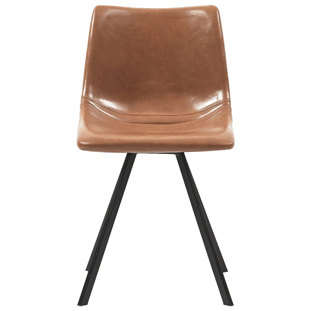 Dining Chairs 2 pcs Cognac Faux Leather 3