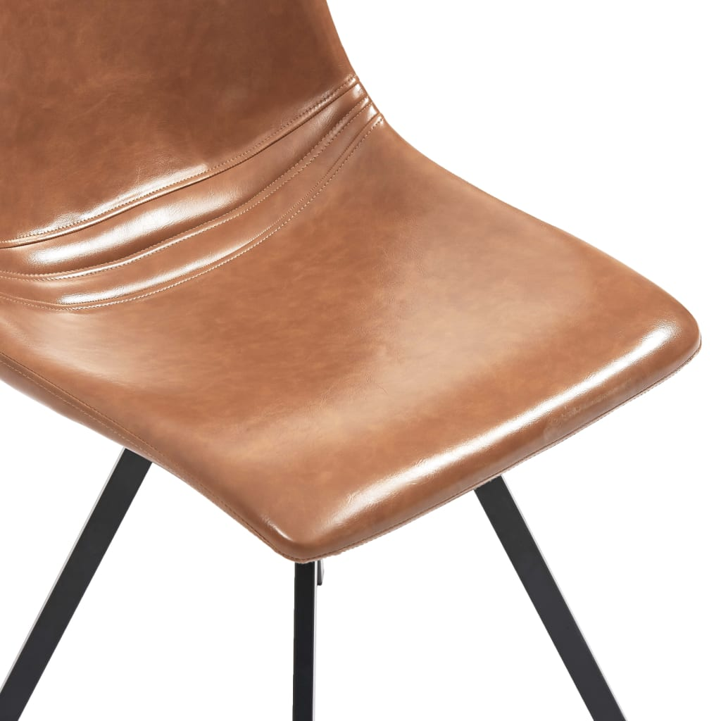 Dining Chairs 2 pcs Cognac Faux Leather 6