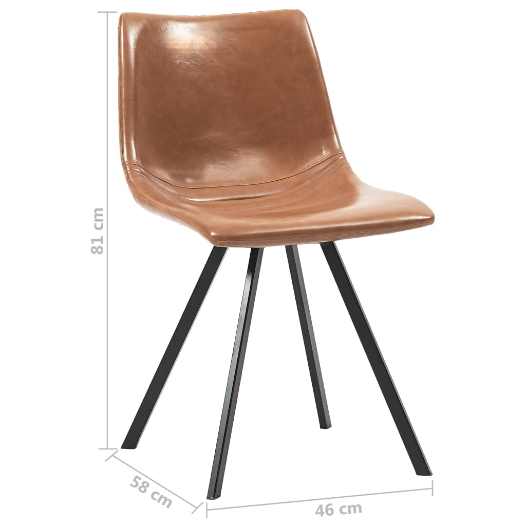 Dining Chairs 2 pcs Cognac Faux Leather 8