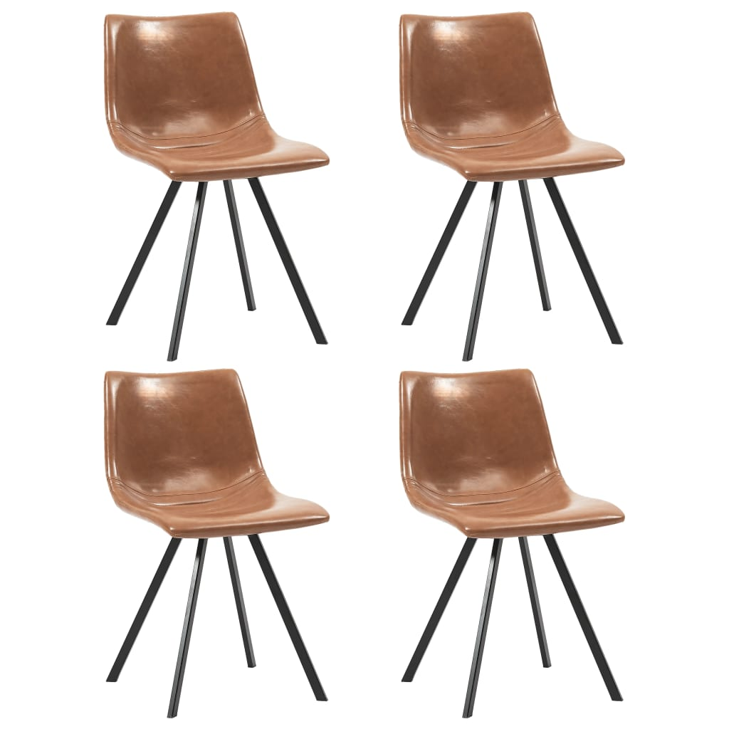 Dining Chairs 4 pcs Cognac Faux Leather 1