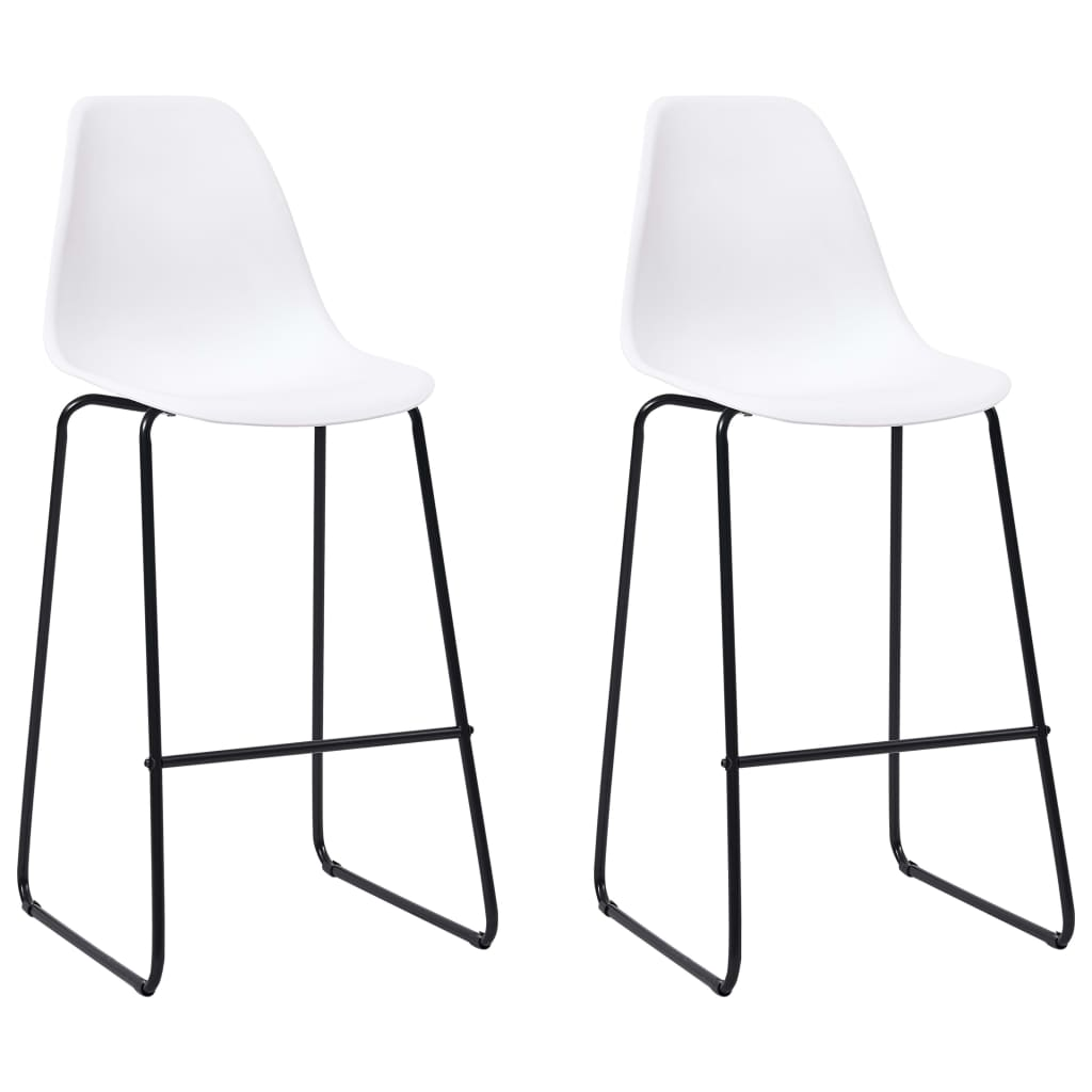 Bar Chairs 2 pcs White Plastic