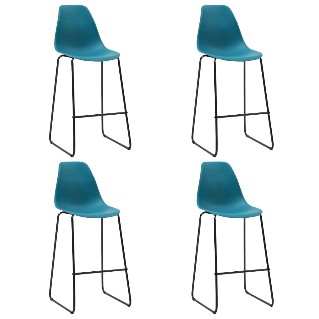 Bar Chairs 4 pcs Turqoise Plastic