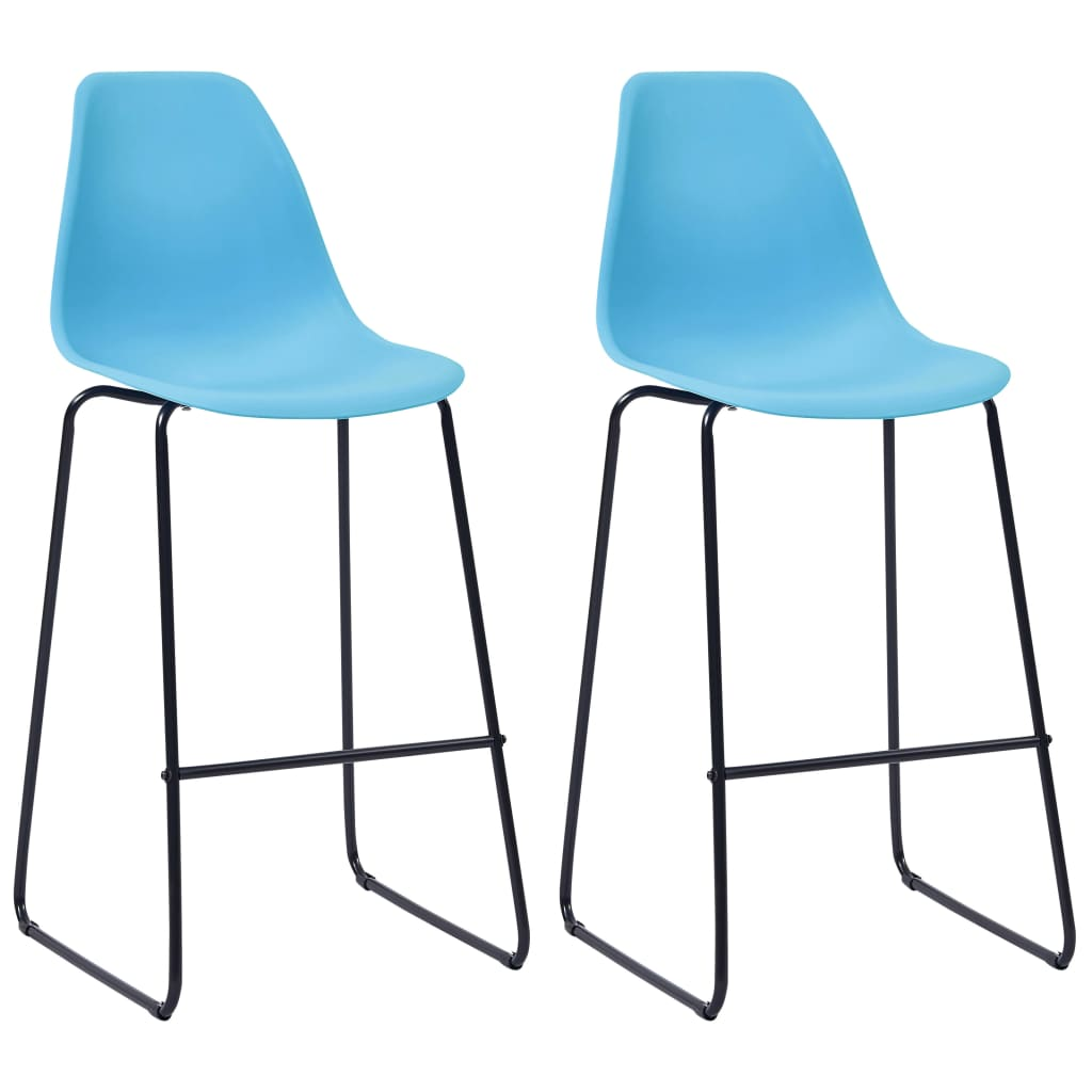 Bar Chairs 2 pcs Blue Plastic 1