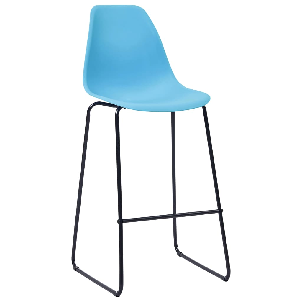 Bar Chairs 2 pcs Blue Plastic 2