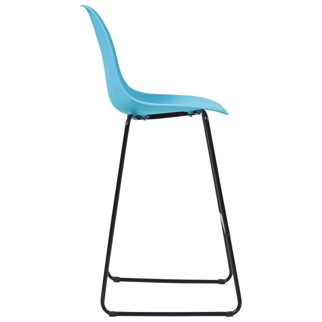 Bar Chairs 2 pcs Blue Plastic 4