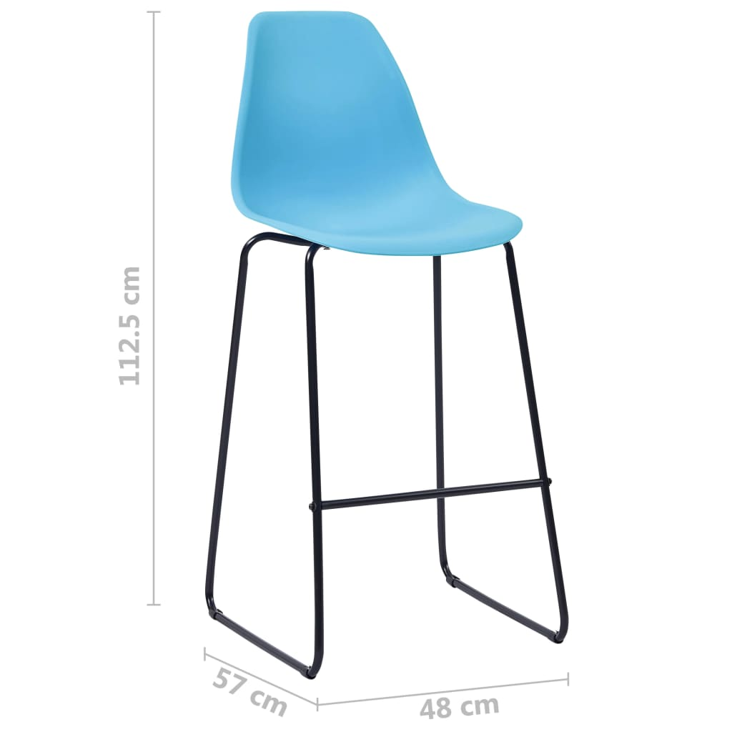 Bar Chairs 2 pcs Blue Plastic 7