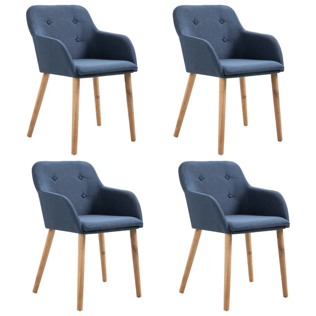 Dining Chairs 4 pcs Blue Fabric and Solid Oak Wood
