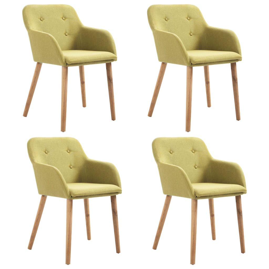 Dining Chairs 4 pcs Green Fabric and Solid Oak Wood 1