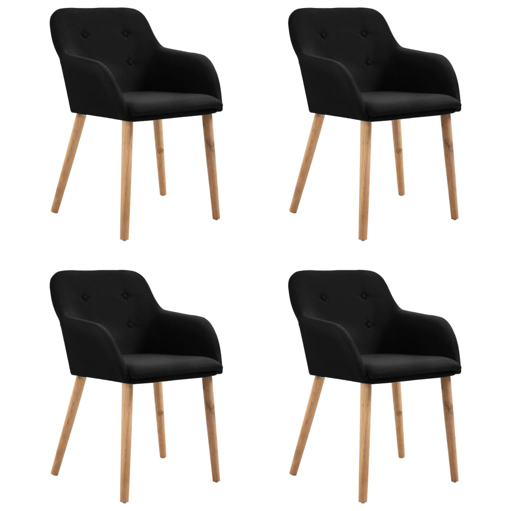 Dining Chairs 4 pcs Black Fabric and Solid Oak Wood