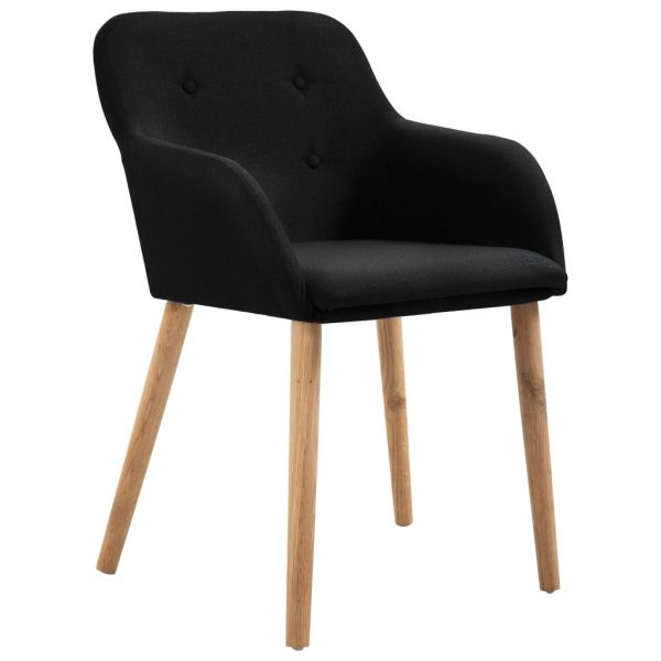 Dining Chairs 4 pcs Black Fabric and Solid Oak Wood 2