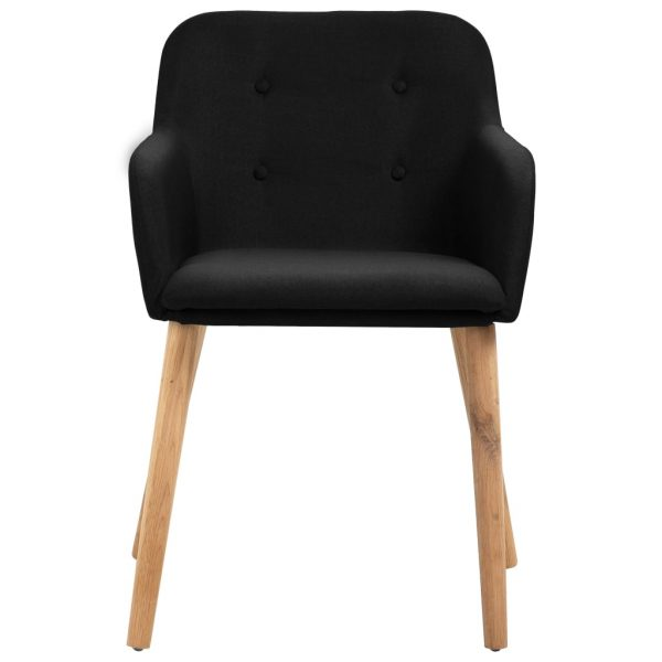 Dining Chairs 4 pcs Black Fabric and Solid Oak Wood 3