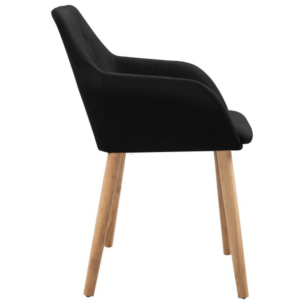 Dining Chairs 4 pcs Black Fabric and Solid Oak Wood 4