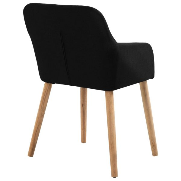 Dining Chairs 4 pcs Black Fabric and Solid Oak Wood 5