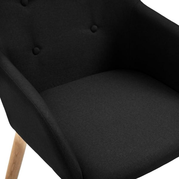 Dining Chairs 4 pcs Black Fabric and Solid Oak Wood 6