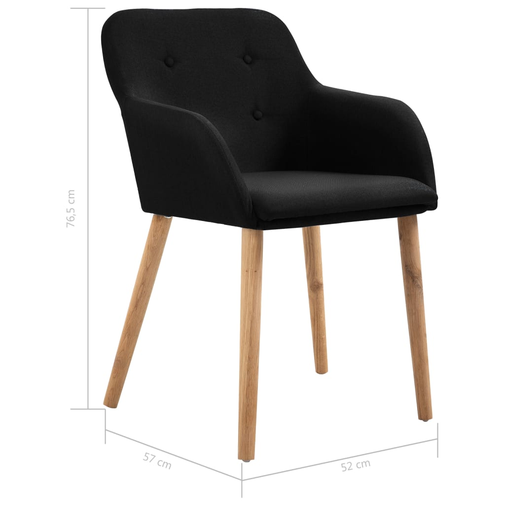 Dining Chairs 4 pcs Black Fabric and Solid Oak Wood 8