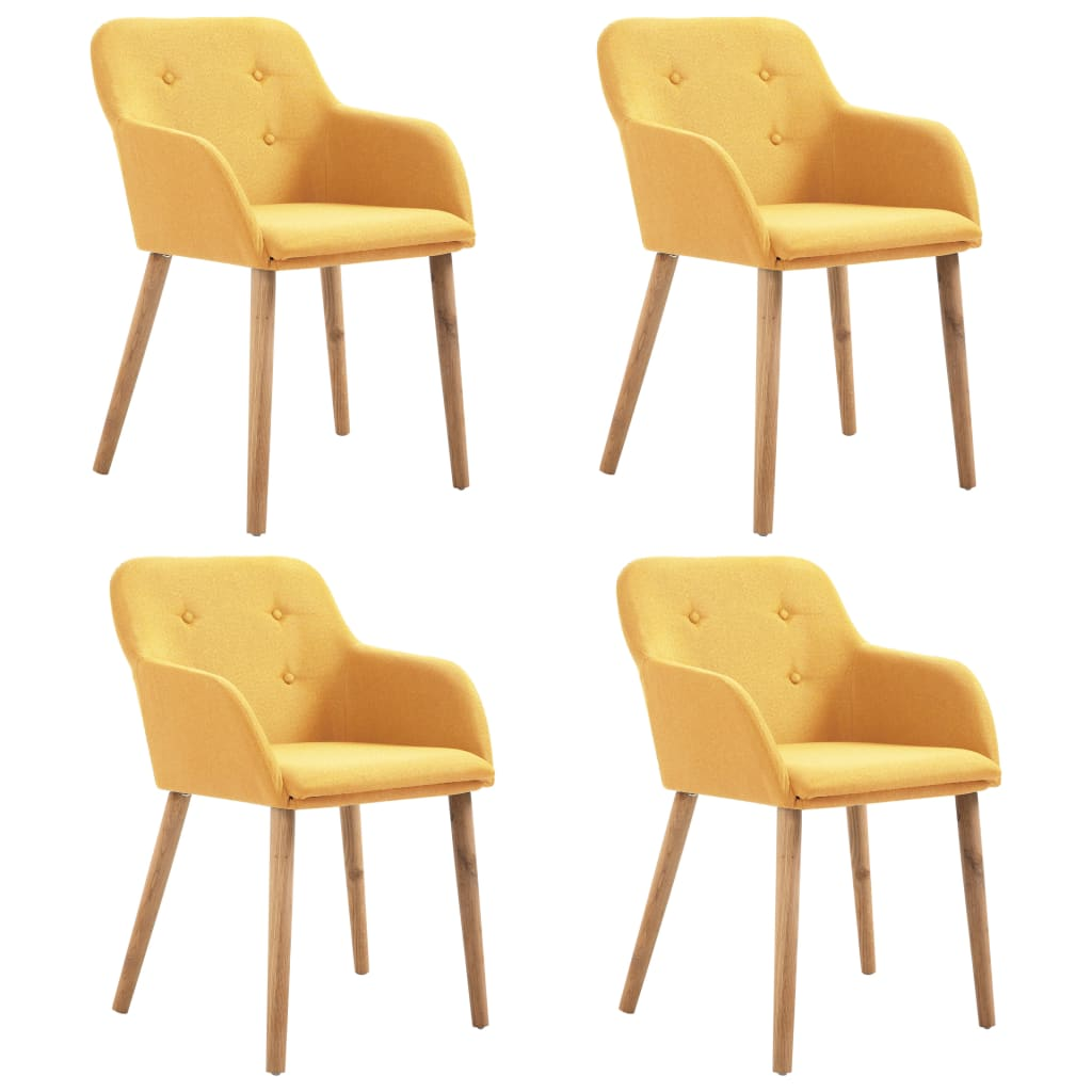 Dining Chairs 4 pcs Yellow Fabric and Solid Oak Wood 1