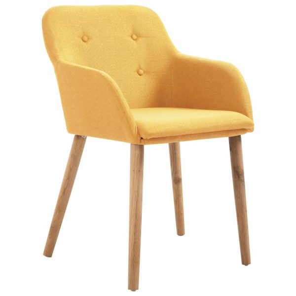 Dining Chairs 4 pcs Yellow Fabric and Solid Oak Wood 2